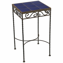 Wrought Iron - Talavera Tile Side Table - 9 or 12 Tiles - Blue