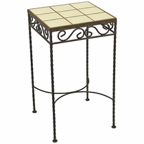 Wrought Iron - Talavera Tile Side Table - 9 or 12 Tiles - Cream