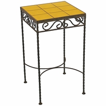 Wrought Iron   Talavera Tile Side Table   9 Or 12 Tiles   Yellow