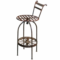 Wrought Iron Wagon Wheel Bar Stools - Set of 2