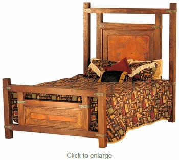 Wyoming Rustic Wood and Copper Panel Bed -Queen