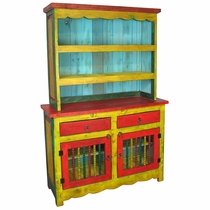 Yellow & Red Painted Wood Cupboard