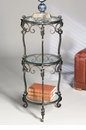 3 Tier Bronze Iron Acanthus Leaf Table with Beveled Glass Home Decor