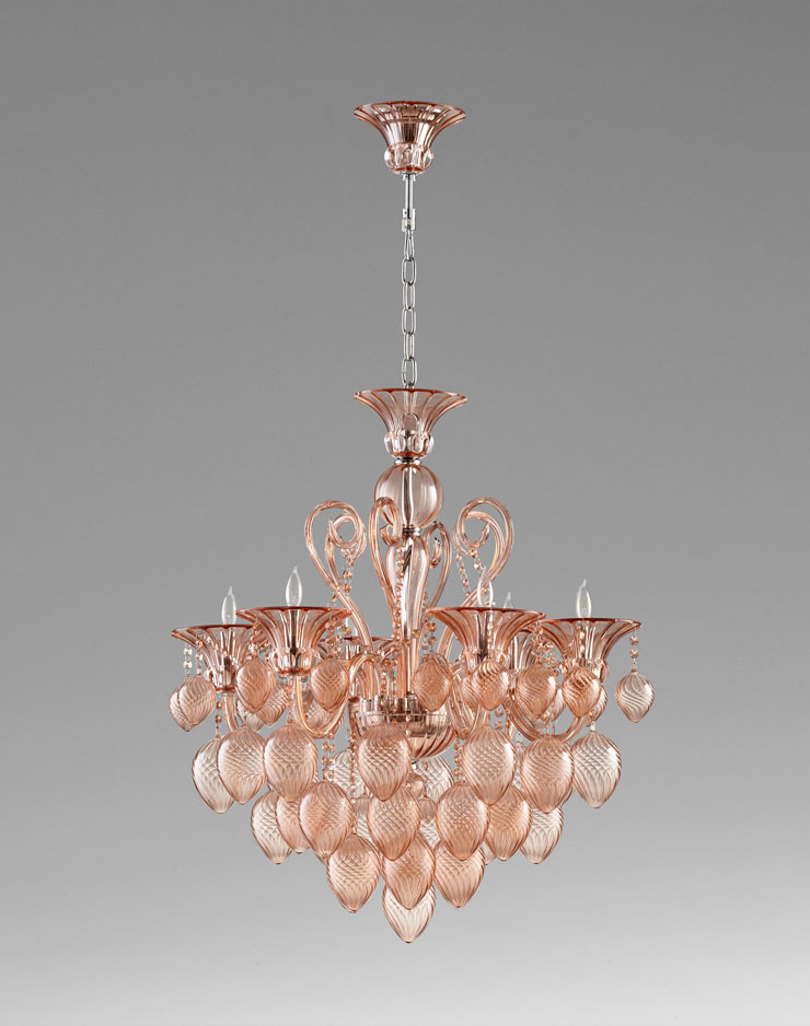 6 light pink glass chandelier by cyan design mozeypictures Choice Image