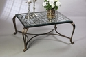 Dessau Home Acanthus Leaf Table - Bronze With Antique Brass Medallions And Beveled Glass Home Decor