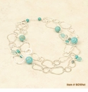 Ali and Bird Silver Chain Necklace with Mixed Turquoise Stones
