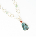 Ali & Bird Gold Circle Chain Necklace with Coral Beads and Large Jade Pendant