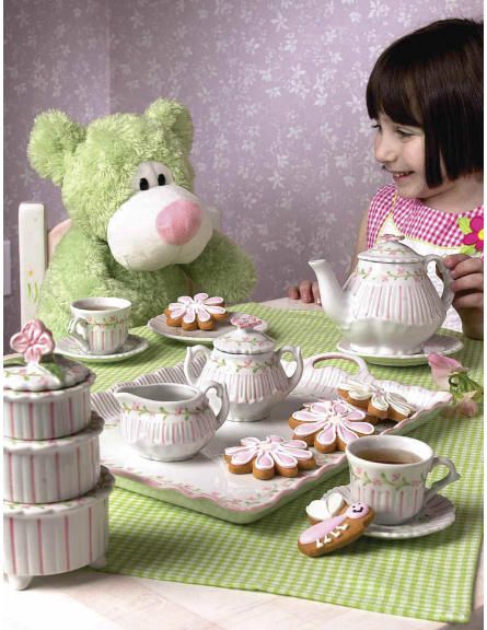 Andrea by Sadek Child\'s Tea Set with Tray - Pink Rose & Pinstripe