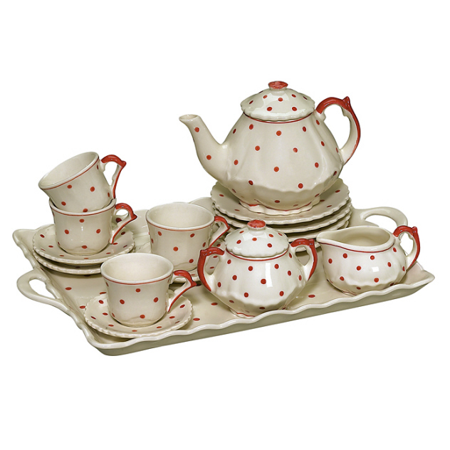 Andrea By Sadek Child S Tea Set With Tray Red Polka Dot