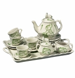 Andrea by Sadek Childs Bunny Toile Tea Set With Tray