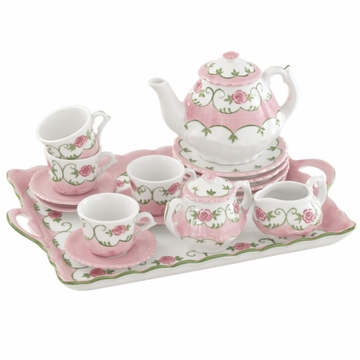 Andrea by Sadek Eloise Pink Rose Child's Tea Set with Tray