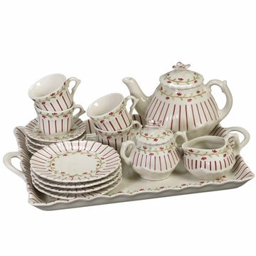 Andrea by Sadek Rose Pinstripe Child's Tea Set with Tray