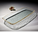 """Annieglass Edgey 9"""" X 20"""" Party Tray Gold"""