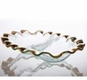 """Annieglass Roman 10.5"""" X 8"""" Two-Section Dish Gold Ruffled"""