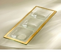 """Annieglass Roman Antique 14"""" x 5"""" Three-Section Tray  Gold"""