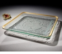 """Annieglass Roman Antique 15 �"""" Large Square Tray Gold"""