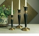 Antique Brass & Black Fluted Candleholder - Medium Home Decor