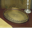 Dessau Home Antique Brass Oval Gallery Tray Home Decor