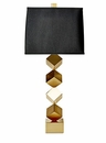 Dessau Home Antique Brass Stacked Cube Lamp (3 Way And 150W ) Home Decor