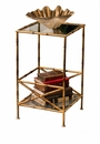 Antique Gold Bamboo 2 Tier Table Home Decor