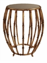Antique Gold Bamboo Drum Table Home Decor