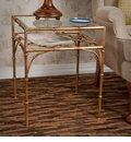Antique Gold Iron Bamboo Table with Beveled Glass Home Decor