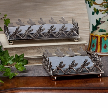 Dessau Home Antique Silver Dragon Fly Cocktail Napkin Holder Home Decor