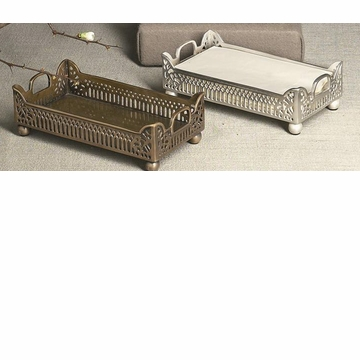 Dessau Home Antique Silver Gallery Guest Towel Tray Home Decor