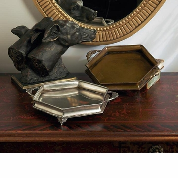 Dessau Home Antique Silver Hexagon Silver Footed Tray Home Decor