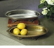 Dessau Home Antique Silver Oval Footed Centerpiece Tray Home Decor