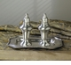 Antique Silver Salt & Pepper Set with Tray Home Decor