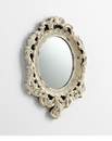 Antique White Resin Round Mirror by Cyan Design