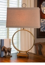 Dessau Home Antiqued Brass Circle Lamp Home Decor