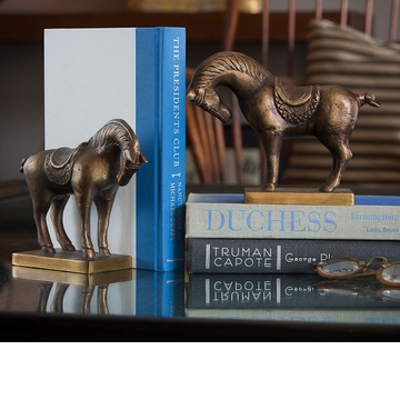 Dessau Home Antiqued Brass Tang Horse Bookends Home Decor