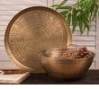 Antiqued Hammered Brass Rice Bowl Home Decor