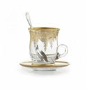 Arte Italica Vetro Gold Cup & Saucer with Spoon