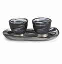 Arte Italica Volterra Nero Oval Platter with Dipping Bowl Set
