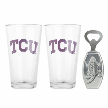 Arthur Court TCU Pub Glass / Opener Set