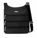 Baggallini Black Big Zipper Crossbody Bag with RFID Shield and Sand Lining