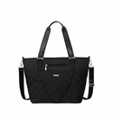 Baggallini Black Quilt Quilted Avenue Tote With RFID