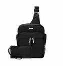 Baggallini Black/Sand Messenger Bagg With RFID