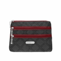 Baggallini Charcoal Link 3 Zip Cosmetic Case