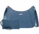 Baggallini Slate Quilt Quilted Slim Crossbody Hobo With RFID