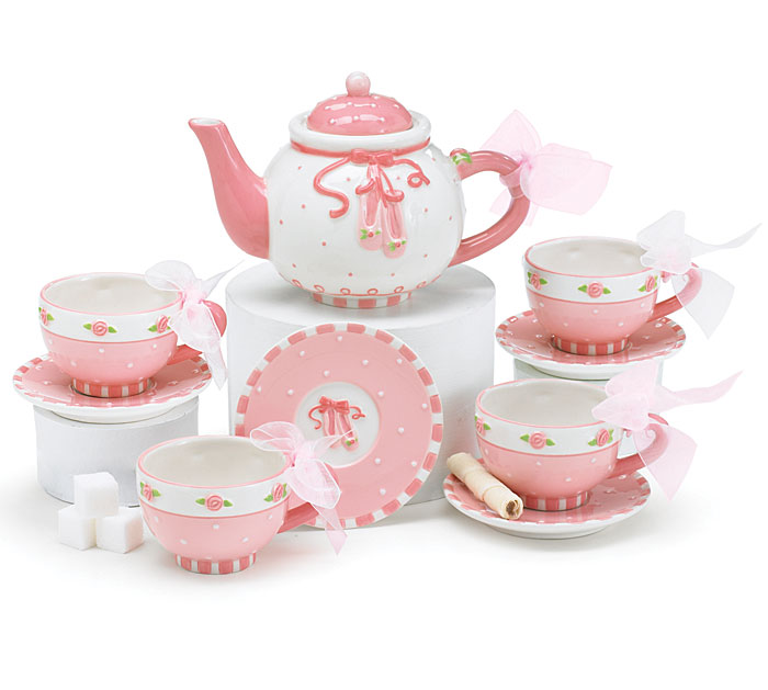 ballerina child 39 s tea set teapot with four cup saucer sets. Black Bedroom Furniture Sets. Home Design Ideas