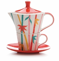 Bamboo Tea for One Stacking Teapot Set by Hues & Brews
