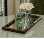 Dessau Home Bamboo Vanity Mirrored Tray Home Decor