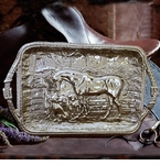 Beatriz Ball Western Horse Tray W/Saddle Stitch Belt Handles