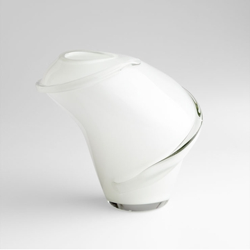 Benito White & Clear Glass Vase by Cyan Design