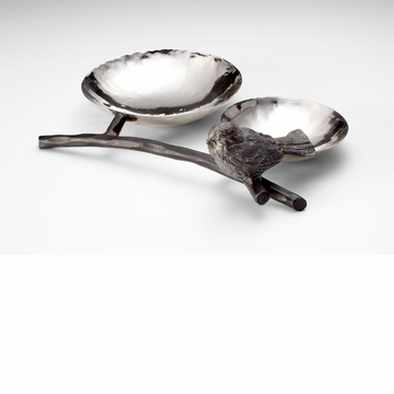 Bird Iron Silver and Bronze Tray by Cyan Design