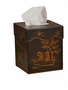 Black/Gold Chinoisserie Tissue Box Home Decor
